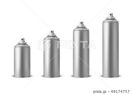 Vector 3d Realistic Silver Blank Spray Can, Spray Bottle Set Closeup Isolated on White Background 49174757