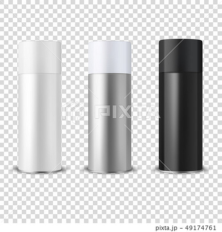 Vector 3d Realistic White Blank Spray Can, bottle Icon Set Closeup Isolated on Transparent 49174761