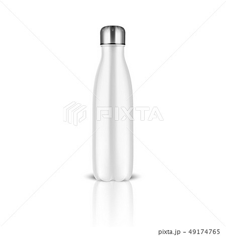 Vector Realistic 3d White Empty Glossy Metal Reusable Water Bottle with Silver Bung Closeup on White 49174765