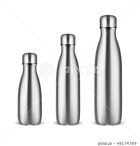 Vector Realistic 3d Silver Empty Glossy Metal Reusable Water Bottle Set with Silver Bung Closeup on 49174769