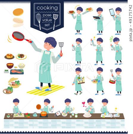 flat type skinny pants man_cooking 49175742