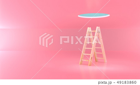 Ladder wooden for climbing upstairs 49183860