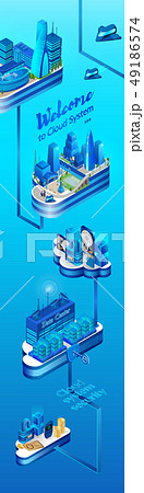Cloud System Secured Data Center Isometric Vector 49186574