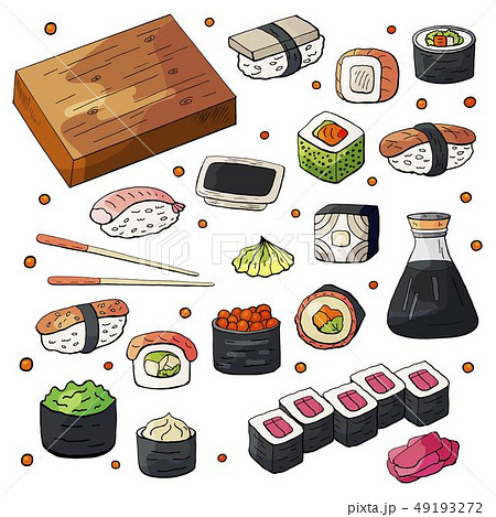 Set of japan sushi collection isolated on white background.  49193272