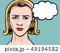 考える アメコミ風 女性のイラスト 49194582