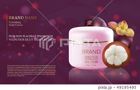 Mangosteen fruit with a bottle of moisturizer purple.vector 49195495