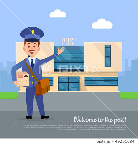 Welcome to Post Banner. Postman Pointing on Office 49201034