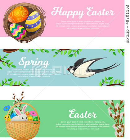 Spring and Happy Easter Vector Web Banners Set 49201103