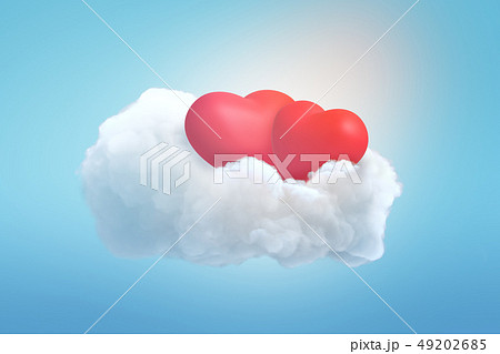 3d rendering of two red hearts on white cloud on blue background 49202685