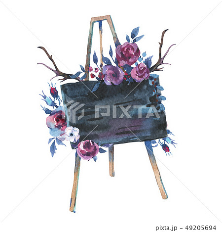 Watercolor Hand Drawn Rustic Easel with Chalk Board and Flowers  49205694