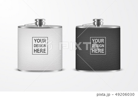 Vector 3d Realistic Leather Blank Stainless Steel Hip Flask Set Closeup Isolated on White Background 49206030