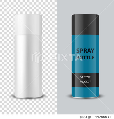 Vector 3d Realistic White Blank Spray Can, Spray Bottle with Cap Closeup Isolated on Transparent 49206031