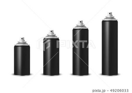 Vector 3d Realistic Black Blank Spray Can, Spray Bottle Set Closeup Isolated on White Background 49206033