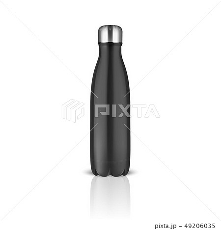 Vector Realistic 3d Black Empty Glossy Metal Reusable Water Bottle with Silver Bung Closeup on White 49206035