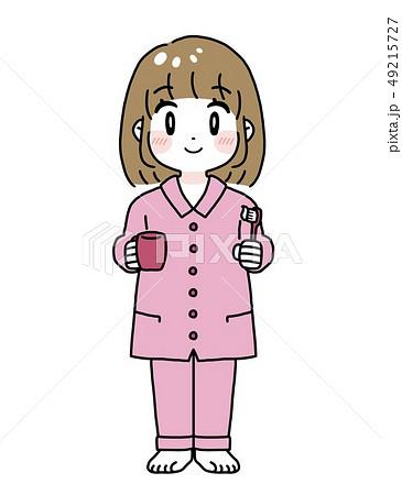 女性 パジャマ 歯みがき イラスト 49215727