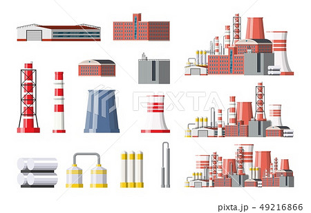 Factory icon set. Industrial factory, power plant. 49216866