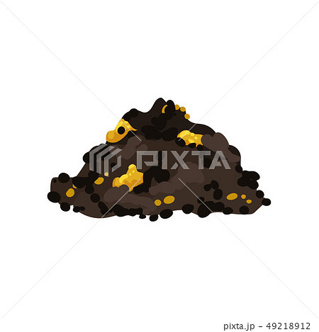 Rock formation with gold on white background. 49218912