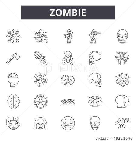 Zombie line icons for web and mobile design. Editable stroke signs. Zombie outline concept 49221646