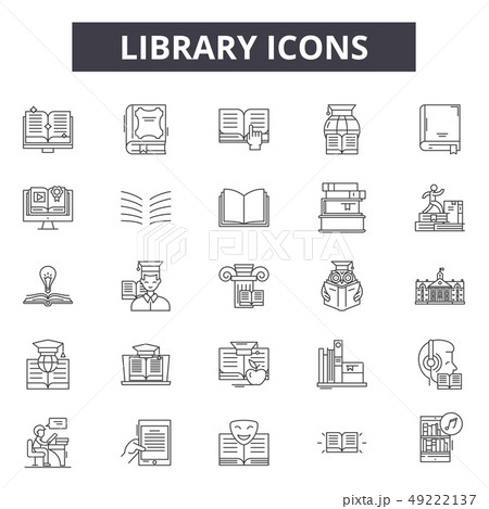 Library line icons for web and mobile design. Editable stroke signs. Library outline concept 49222137