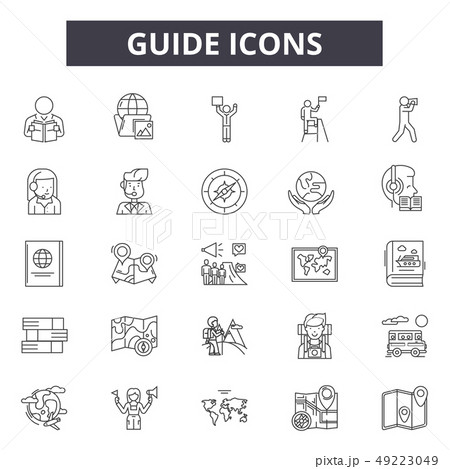 Guide line icons for web and mobile design. Editable stroke signs. Guide outline concept 49223049