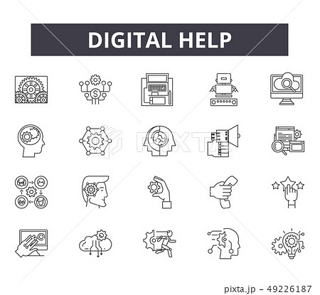 Digital help line icons for web and mobile design. Editable stroke signs. Digital help outline 49226187