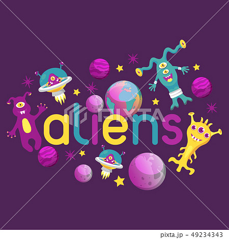 Monster alien poster, banner vector illustration. Cartoon monstrous character, cute alienated 49234343