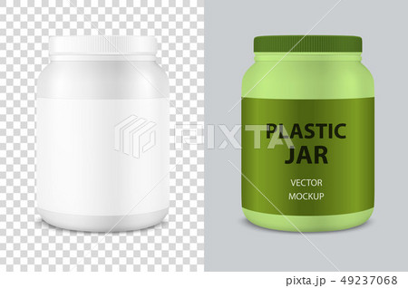 Vector Realistic 3d White Plastic Jar, Can with Lid Closeup Isolated . Design Template of Whey 49237068