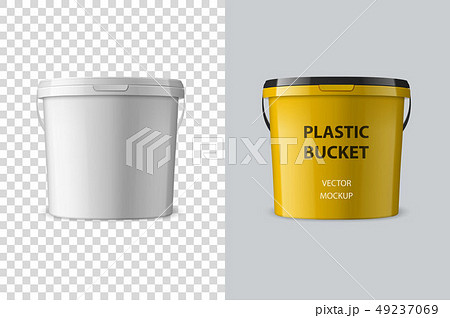 Vector Realistic 3d White Plastic Bucket for Food Products, Paint, Foodstuff, Adhesives, Primers 49237069