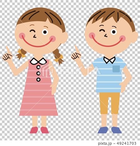 Pop boy and girl summer clothes pointing 49241703