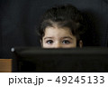 Close up portrait of a little girl behind laptop 49245133