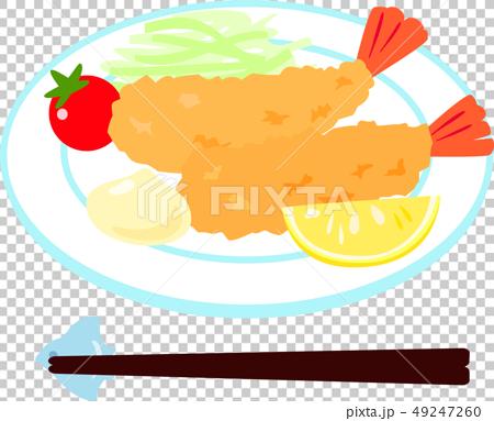 皿に盛ったエビフライ 49247260
