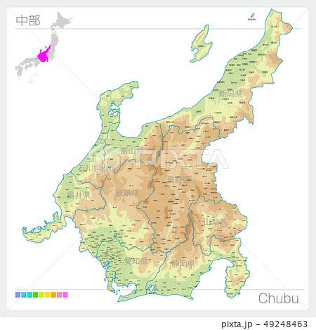 中部の地図・Chubu(等高線・色分け) 49248463