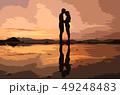 イラスト素材;海辺のカップル 夕焼け 前撮り 49248483