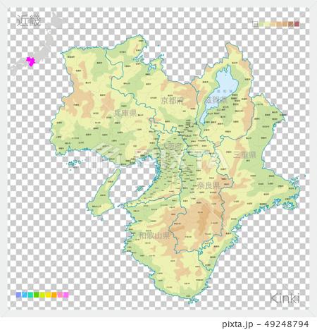 킨키의지도 · Kinki (등고선 · 색) 49248794