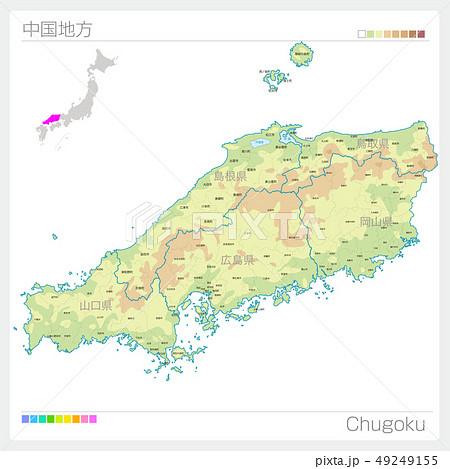中国地方の地図・Chugoku(等高線・色分け) 49249155