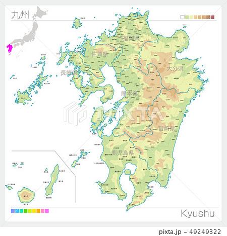 九州地方の地図・Kyushu(等高線・色分け) 49249322