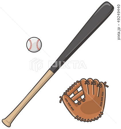 野球のバットとグローブと硬式ボール 49249440