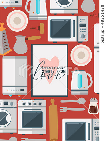 Kitchenware seamless pattern vector household appliance cookware for cooking or kitchen utensils for 49251438