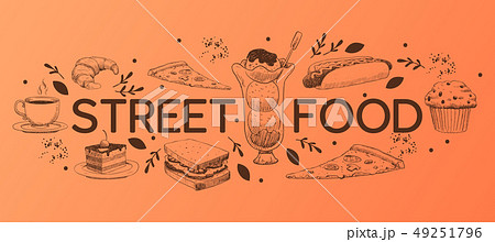 Cafe menu vector sweet desserts chocolate cupcake cheesecake and fast food icecream in restaurant 49251796