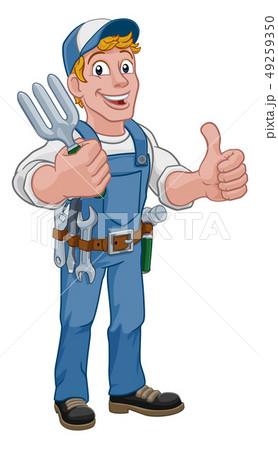 Gardener Garden Fork Tool Handyman Cartoon Man 49259350