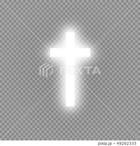 Shining white cross on transparent background. Glowing saint cross. Vector illustration 49262335