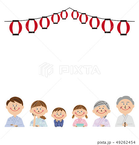 ポップな3世代家族 浴衣で手をついて並ぶ 49262454