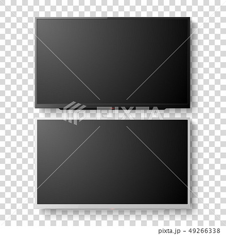Vector 3d Realistic White and Black Blank TV Screen. Modern LCD LED Panel Set Closeup Isolated on 49266338