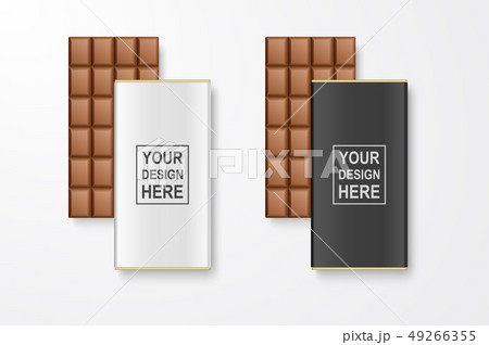 Vector 3d Realistic White and Black Blank Whole Chocolate Bar Package Set Closeup Isolated on White 49266355