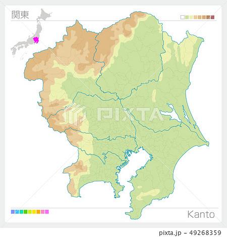 関東の地図・Kanto(等高線・色分け) 49268359
