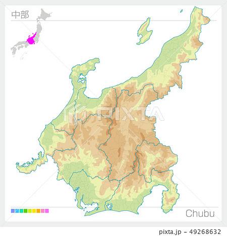 中部の地図・Chubu(等高線・色分け) 49268632