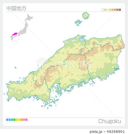 中国地方の地図・Chugoku(等高線・色分け) 49268901