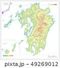 九州地方の地図・Kyushu(等高線・色分け) 49269012