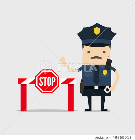 Policeman with stop sign and no entry. 49269613