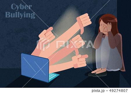 sad girl getting cyber bullying 49274807
